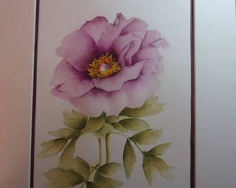 "WATERCOLOR PEONY ""ANNA MARIE"", PAINTED AND SIGNED"