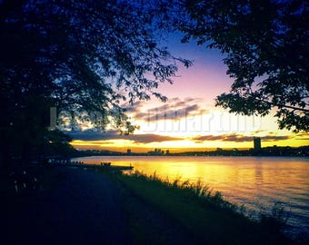 Charles River sunset | Boston, MA - FREE SHIPPING!