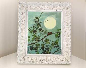 Vintage Illustration for Woodland Nursery theme room. Children's book picture for framing. Image showing ladybirds kissing in the moonlight