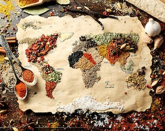 ORIGINAL design, durable and WASHABLE PLACEMAT - riches of the world 2 - classic.
