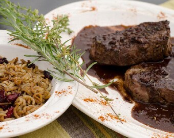 Seared Steak with Red Wine Chocolate Sauce and Wild Rice & Cranberries