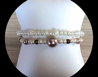 Bracelet double rows memory glass beads.