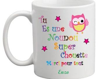 "Mug ""You are a nice great nanny"" multi color"