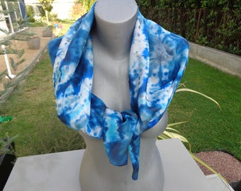 Hand painted silk scarf, blue