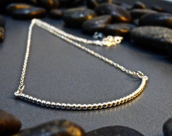 Sterling Silver Bobble Bar Necklace