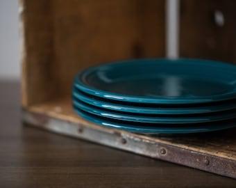 Vintage Discontinued Juniper Fiestaware Fiesta Ware Salad Plates (set of 4)  Teal Blue