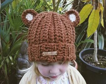 Kids | BROWN BEAR HAT | Crocheted Unisex Brown Bear Hat | With Bear Ears