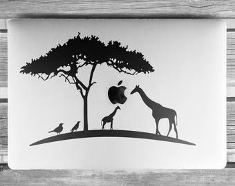 African Landscape Decal Sticker for Macbooks and other Laptops, Africa, Mac, Giraffe, Birds, Giraffes, The Giraffe wants and Apple