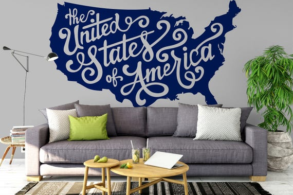 The United States of America MAP - Decals for Home Decor, Patriotic Country Map, Typography Style USA MApping, Wall Decal / Sticker