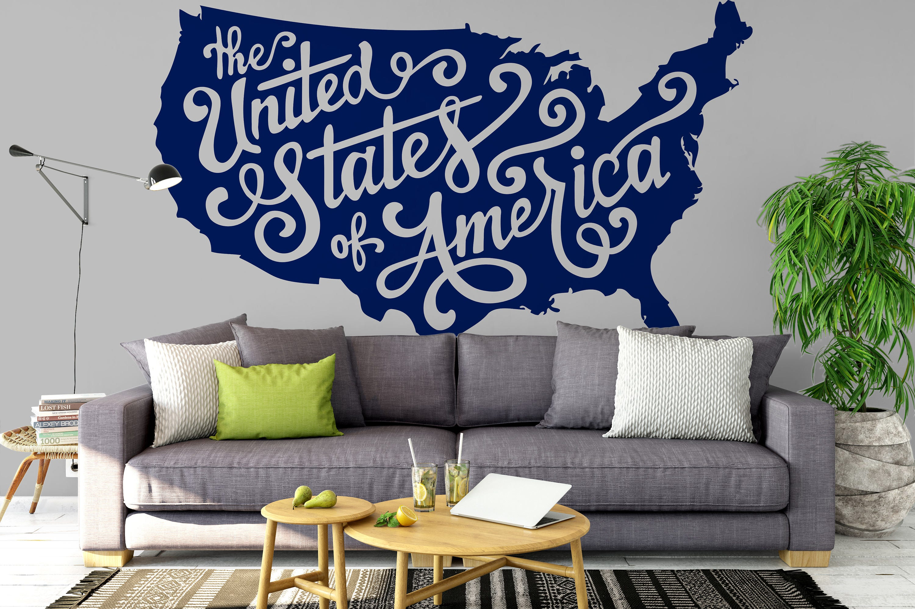 The United States of America MAP Decals for Home Decor