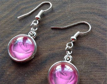 Silver earrings with rose image cabochon