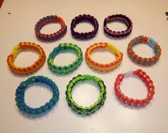 Paracord Bracelet Party Pack - 10 Kids' Paracord Bracelets in Assorted Bright Colors