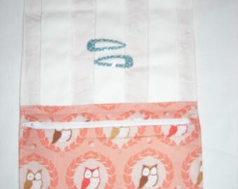 Kit to BARRETTES with zippered pocket, fabric Peach with Fox/OWL