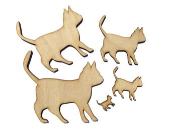 Blank Wooden Cat Plywood Scrapbooking Embellishment Wedding Decor Christmas