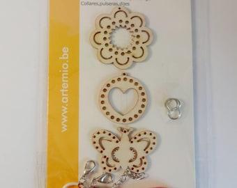 Set bracelet, necklace, wood charm - butterfly, flower, heart - design jewelry - kids activity