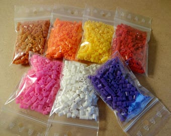 Beads set with 7 colours - multicoloured 15g bags - hobby Hama perler