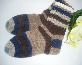 Children's socks 24-25 size size hand knitted children socks warm winter wool socks woolsocks Brown blue brown blue beige