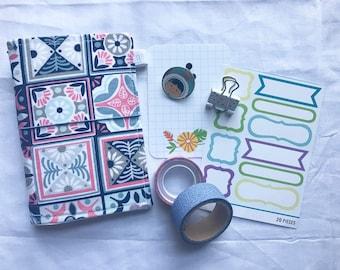 Squares Pattern, Fauxdori, Midori, Travelers Notebook, fabricdori notebook cover