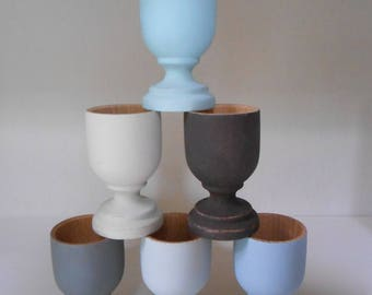 6 cups 'United' painted by hand, wood eco design. By 6