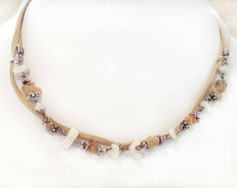 Brown, White and tan Beaded and Suede Choker Necklace