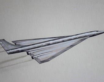 Original Art, Aviation Advertising, Supersonic Aircraft