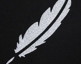 Fusible feather 100 X 25 mm silver glitter