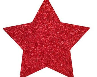 10 X 9.5 cm red glittery star fusible pattern