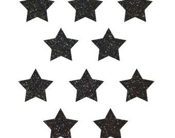 10 stars hot-melt black glittery 15x15mm