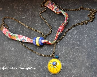 """""""Mademoiselle"""" yellow and blue polymer clay cabochon necklace"""