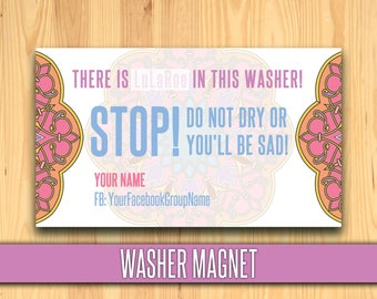 Washer Magnet; Stop Magnet;  lulalaundry magnet, laundry, care magnet; or youll be sad, Business Card Size; PERSONALIZED!