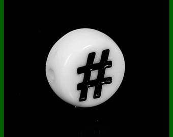Pearl round # plastic symbol black and white