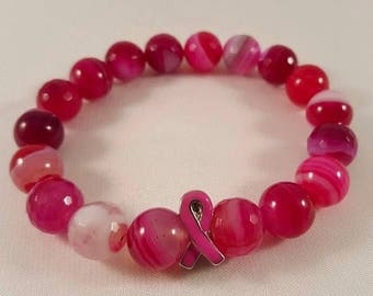 Gemstone bracelet made of agate beads and a breast cancer ribbon, silver plated