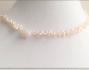 929 Sterling Silver ~ Pretty Peachy Flower ~ Freshwater Pearl,  Crystal and Gemstone Necklace