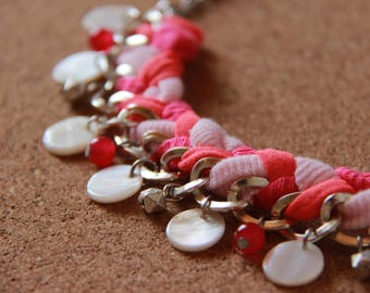 Necklace PLASTRON • pink • / coral / silver