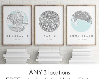 Personalized Map Print, Set of Three, Map Prints, Custom Locations, Your Choice, Anniversary, Custom Map, Home Town Map, City Map