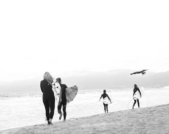 Surfers Black and White Print