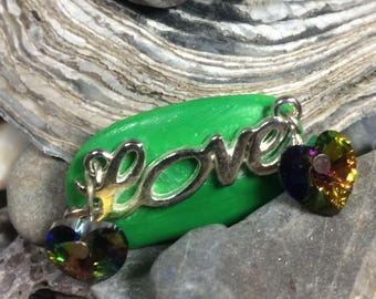 Hand painted 'Love' brooch with Swarovski hearts and silver plated 'Love' and brooch back in blue, green or yellow