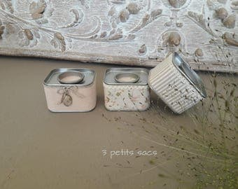 Boxes metal X 3, cotton blends, religious Medal and antique lace; shabby vibe