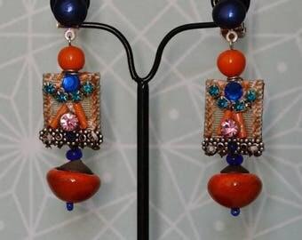 Dark blue and orange clip earrings