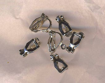 Six silver clips for earrings