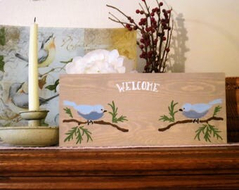 Welcome Bird Wooden Sign, Ready To Ship, Birds, Welcome, Wood Sign