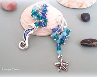 Earrings asymmetrical earrings Swarovski crystals and beads charms faceted sea horse and star clusters of sea