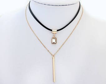 Trendy Leather & Gold Choker, Gold Leather Necklace