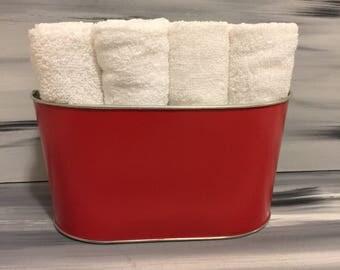 Red Bathroom Bin - Bathroom Wash Cloth Bin with 12 white wash cloths.