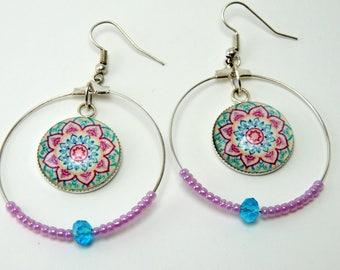 """""""Mandala"""" Blue Rose Cabochon earrings"""