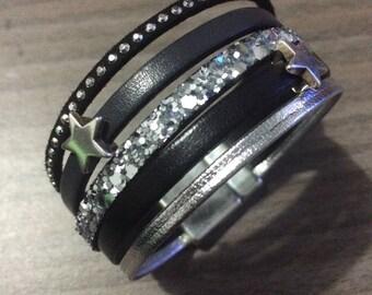 Black and grey multi strand Cuff Bracelet