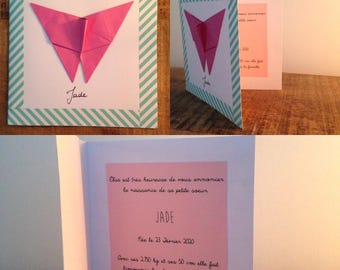 Birthstone - pink butterfly invitation