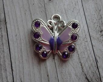 21.5x21 mm purple enamel silver Butterfly charm
