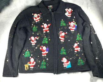 Designers Originals, studio, Medium, black, santa, zip up, Ugly Christmas, cardigan, sweater, holiday party, xmas