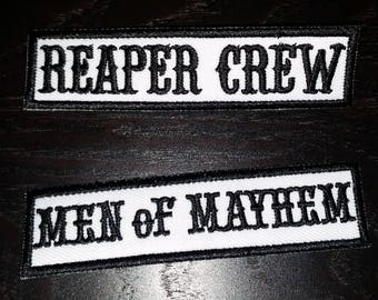 Reaper Crew & Men of Mayhem sons of Anarchy cut patche 25mmx100mm White Vest Patch Reaper Hats